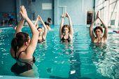 Female group on aqua aerobics in swimming pool poster