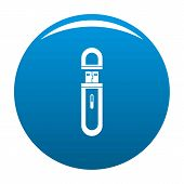 Usb Flash Drive Icon. Simple Illustration Of Usb Flash Drive Vector Icon For Any Design Blue poster