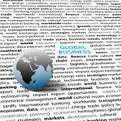 pic of eastern hemisphere  - Globe on page of global business economic international issues text words background - JPG