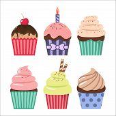 Clip Art Cartoon Cupcake Set. Colorful Cupcakes Clipart Cartoons. poster