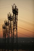 Industrial Background Group Silhouette Of Transmission Towers Or Power Tower, Electricity Pylon, Ste poster