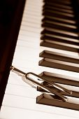 image of tuning fork  - Tuning fork on top of piano keys in sepia color - JPG