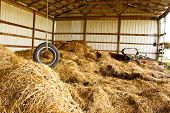 foto of tire swing  - Old tire swing hanging above hay in a barn - JPG