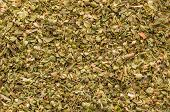 Oregano Spice Detail Macro Texture Background Pattern. Spilled Oregano Spice Macro. poster