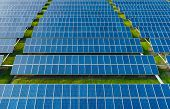 Aerial View Of Solar Energy Panels On Sunny Day, Solar Panels, Solar Power Plants. poster