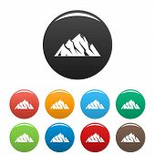 Extreme Mountain Icon. Simple Illustration Of Extreme Mountain Vector Icons Set Color Isolated On Wh poster