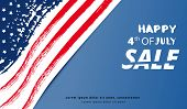 Happy Of 4th Of July  Sale Lettering. Independence Day Horizontal Banner. National Flag Card With Te poster