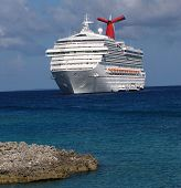 stock photo of cruise ship  - The big cruise ship stand near Caribbean island - JPG