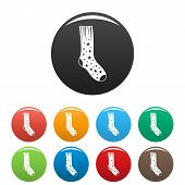 Sock With Star Icon. Simple Illustration Of Sock With Star Vector Icons Set Color Isolated On White poster