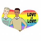 Vector Illustration Of Two Men Hugging On Brushed Rainbow Heart Background With Words Love Is Love.  poster