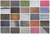 A Collage Of Many Pictures With Fragments Of Various Types Of Roofing Close Up. A Set Of Images With poster