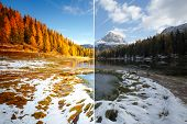 Morning lake Antorno in National Park Tre Cime di Lavaredo. Location Dolomiti alps, Italy, Europe. I poster