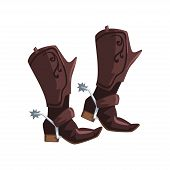 Pair Of Cowboy Leather Boots Vector Illustration Isolated On A White Background. poster