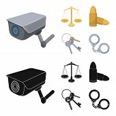 Scales Of Justice, Cartridges, A Bunch Of Keys, Handcuffs.prison Set Collection Icons In Cartoon, Bl poster