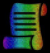 Dotted Bright Halftone Script Roll Icon Using Rainbow Color Tinges With Horizontal Gradient On A Bla poster
