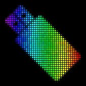 Dot Colorful Halftone Usb Flash Drive Icon In Spectral Color Tones With Horizontal Gradient On A Bla poster