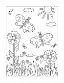 Spring Or Summer Joy Themed Coloring Page With Butterflies, Flowers, Grass. poster