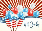 Independence Day Abstract Background With Lines And Stars. Text 4th Of July With Balloons And Rocket poster