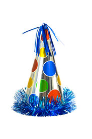 picture of birthday hat  - Brightly colored party hat on white background - JPG