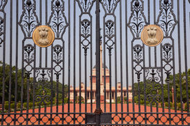 picture of rashtrapati  - Rashtrapati Bhavan Gate The Iron Gates Official Residence President New Delhi India Designed by Edwin Lutyens and completed in 1931 - JPG