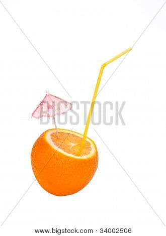 Orange Is Made An Incision With An Umbrella And Straw