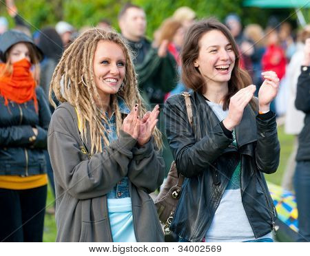 """MOSCOW - JUNE 3: People cheer and attend open-air concert on IX International Jazz Festival """"Usadba Jazz"""" in """"Archangelskoye Mansion"""" on June 3, 2012 in Moscow, Russia."""