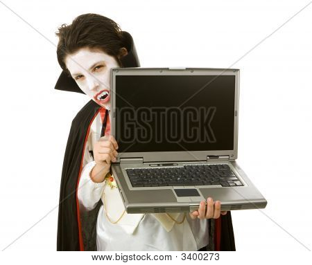 Halloween Vampire With Laptop
