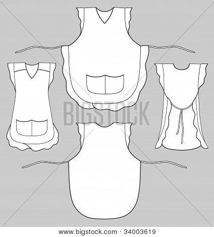 Frau Schürze mit Rüschen und Taschen