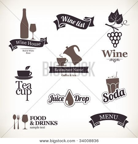Labels set: food and drinks, restaurant and cafe