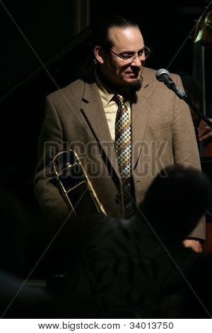 MADISON, NJ - JUNE 16: Steve Turre smiles as he performs with his Quartet at Shanghai Jazz on June 16, 2012 in Madison, NJ.