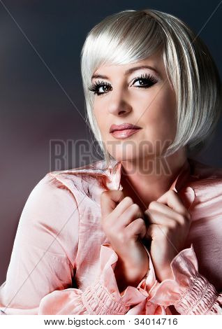 beautiful lady with blond bob