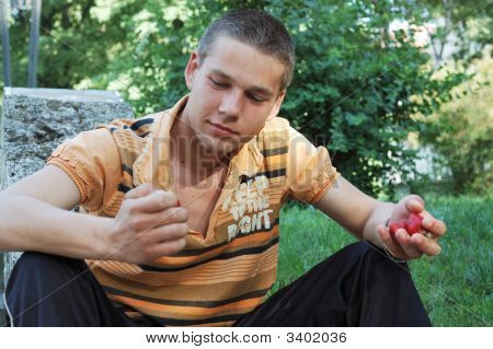 Man And Strawberry