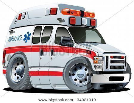 Vector Cartoon Ambulance Van