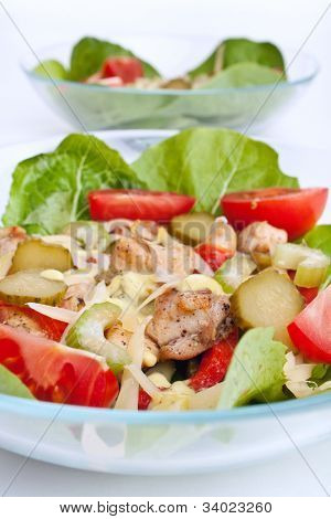 two servings of healthy light chicken breast salad
