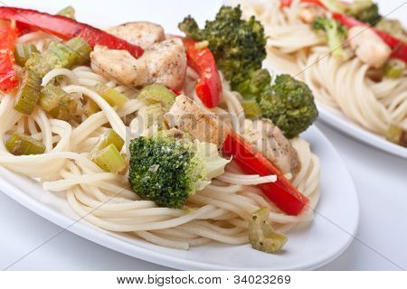 two servings of chicken and broccoli pasta dijon
