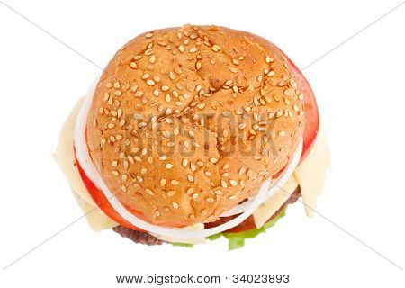 cheeseburger view from the top on white background