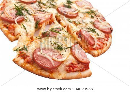 sliced sausage and onion pizza on white background