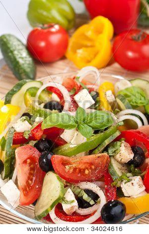 healthy greek salad with ingredients