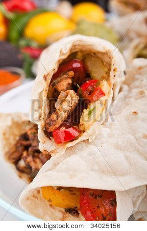 traditional mexican chicken fajitas close-up