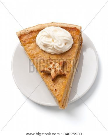 slice of pumpkin pie with whipped cream on a plate