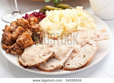 Sliced turkey breast with garnish on a plate