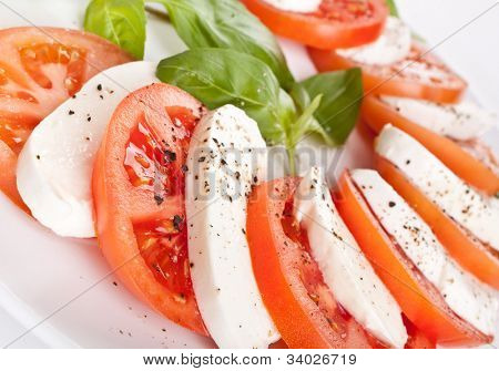 traditional italian caprese salad close-up