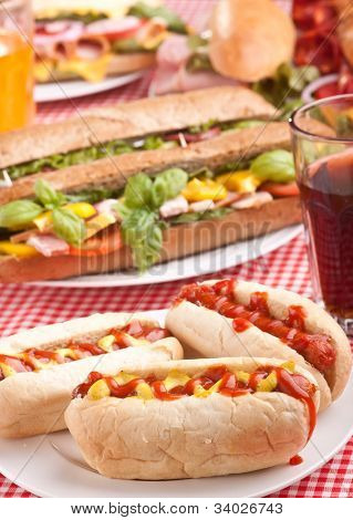 group of hot dogs, sandwiches  and drink on checked table-cloth table