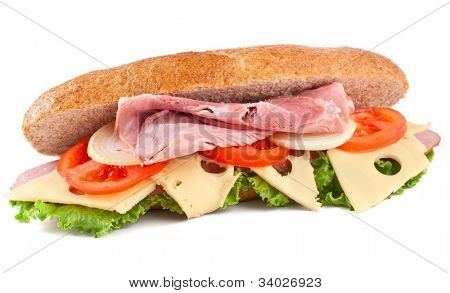 submarine bran bun sandwich with vegetables, cheese and meat