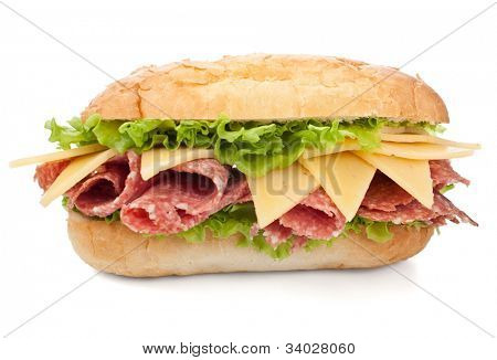 tasty salami, cheese and vegetables sandwich