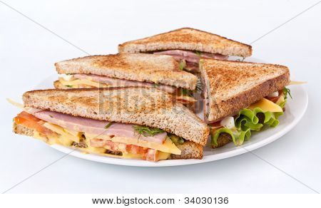 meat, lettuce and cheese sandwiches on toasted bread