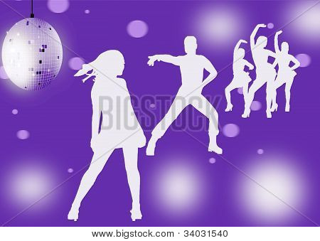 Disco dancers silhouettes