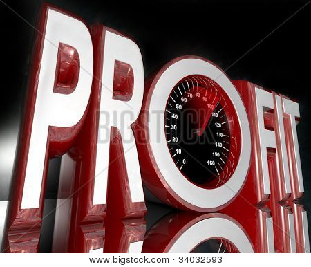 The word Profit with a speedometer in the letter O,  and a red needle racing higher to represent improving sales and increasing revenue