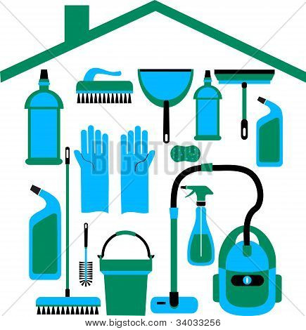 House cleaning service icon set