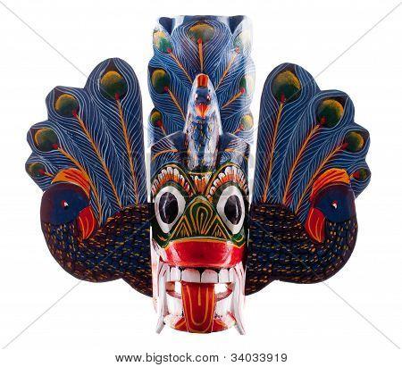 Máscara de cabeça do Sri Lanka, isolada no branco